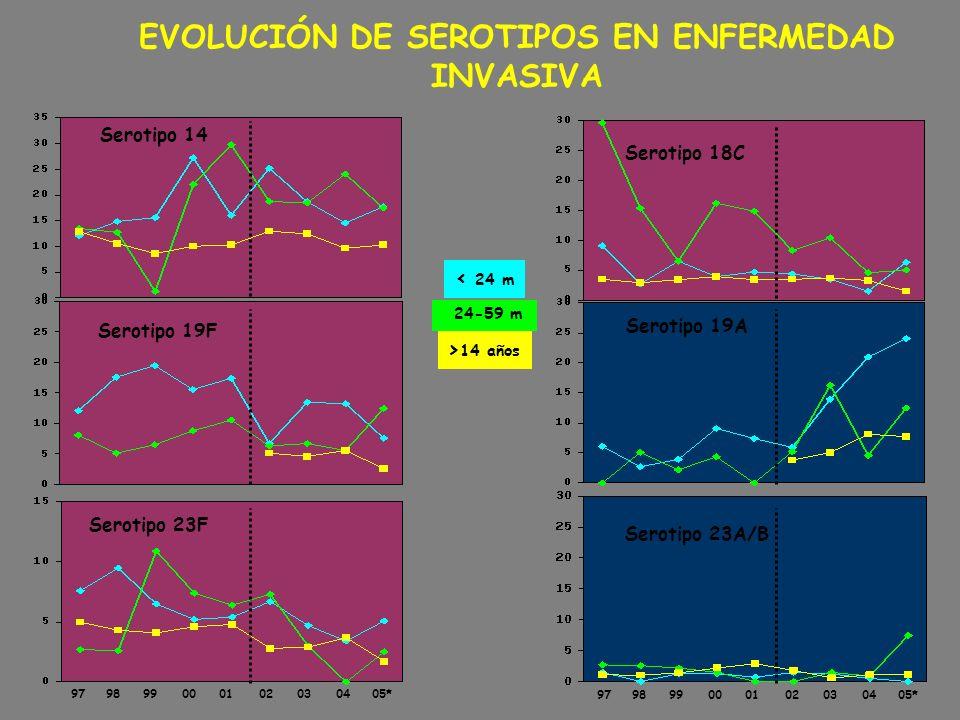 EVOLUCIÓN DE SEROTIPOS EN ENFERMEDAD INVASIVA Serotipo 19F Serotipo 19A Serotipo 18C Serotipo 14 24-59 m < 24 m > 14 años Serotipo 23F 979899000102030