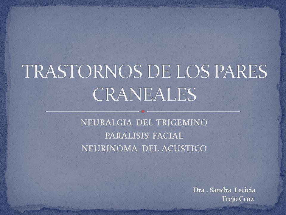 NEURALGIA DEL TRIGEMINO PARALISIS FACIAL NEURINOMA DEL ACUSTICO Dra. Sandra Leticia Trejo Cruz