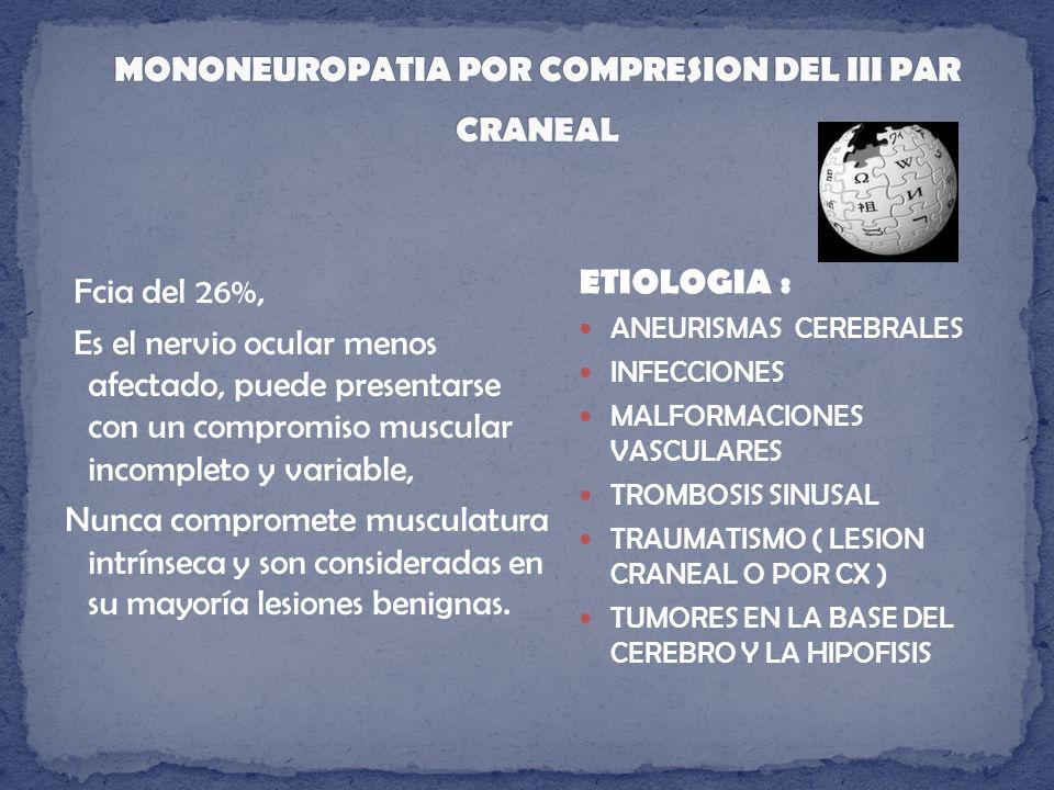 Pérdida de la audición, hipoacusia (95%) Zumbido.(65%) de tono agudo y en el lado afectado por el tumor Vertigo (20 %) sensacion de inestabilidad y desequilibrio Parálisis de un nervio facial.