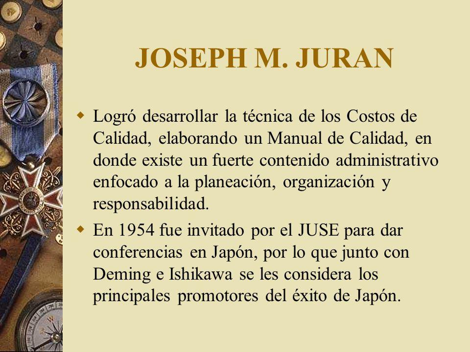 JOSEPH M. JURAN Afirma que la Alta Administración es la responsable del cambio, abogando por crear el cambio cuando el proceso necesita mejorarse y po