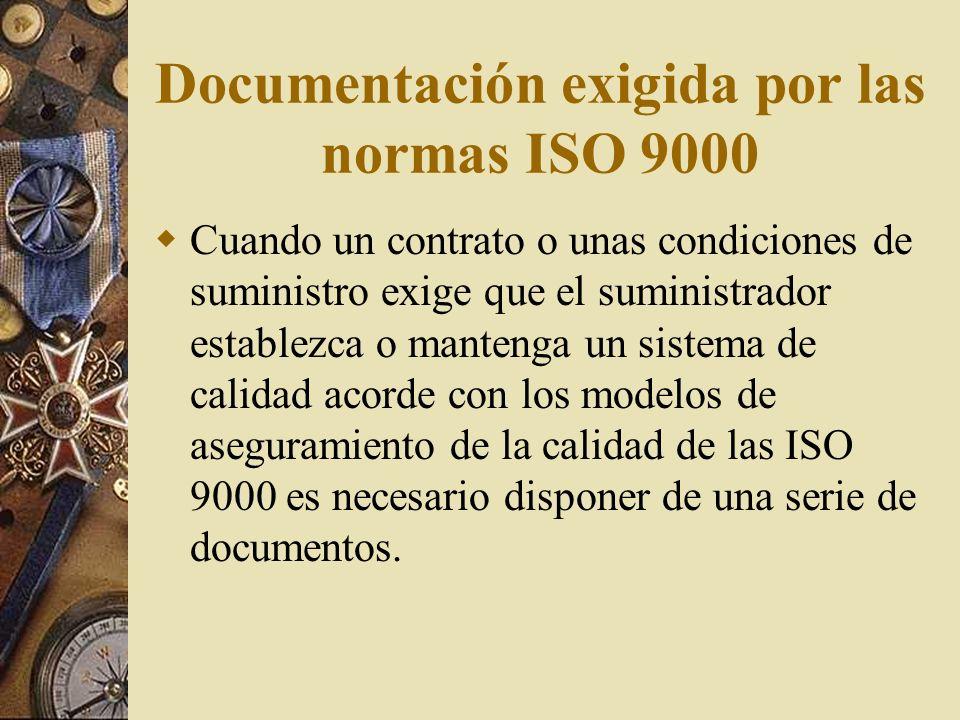 Documentos de referencia: para dar información, planos, manual de calidad. Registros: para registrar resultados de pruebas, etc. Manual de calidad:El
