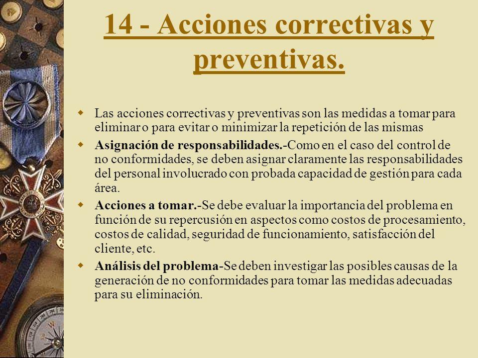 13 - Control de productos no- conformes. Se deben establecer procedimientos que ilustren el comportamiento frente a los distintos tipos de no conformi