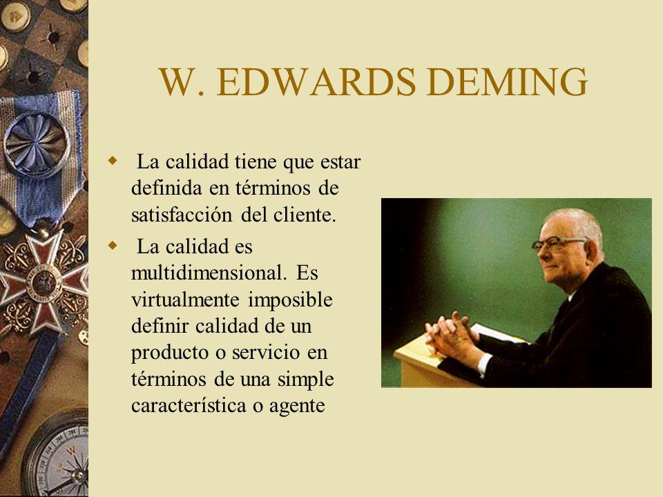 W.EDWARDS DEMING La calidad tiene que estar definida en términos de satisfacción del cliente.