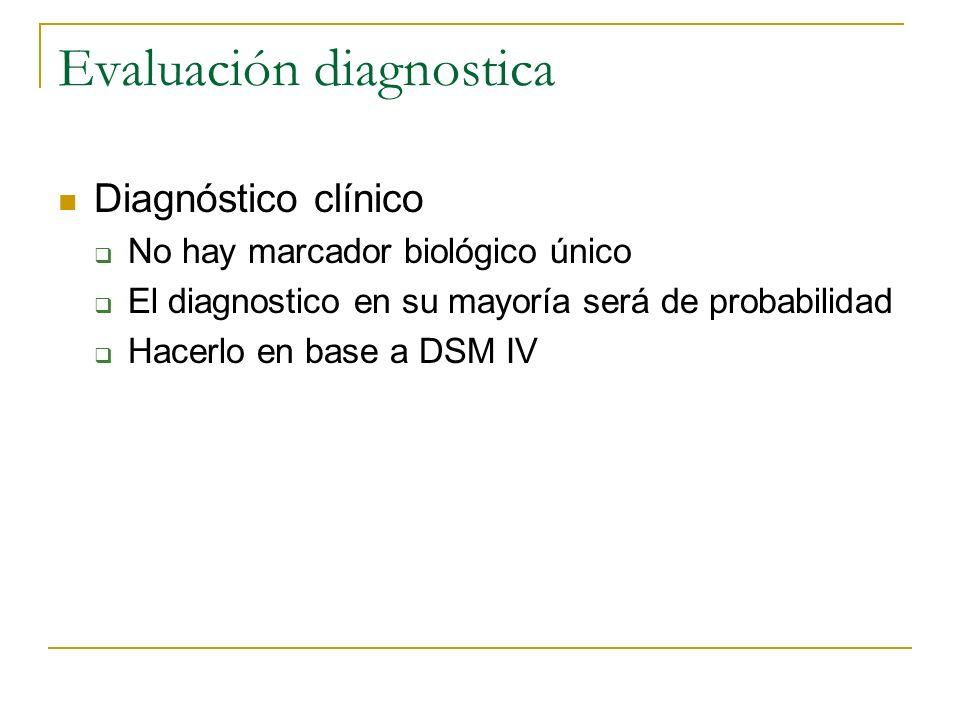 Evaluación diagnostica Diagnóstico clínico No hay marcador biológico único El diagnostico en su mayoría será de probabilidad Hacerlo en base a DSM IV