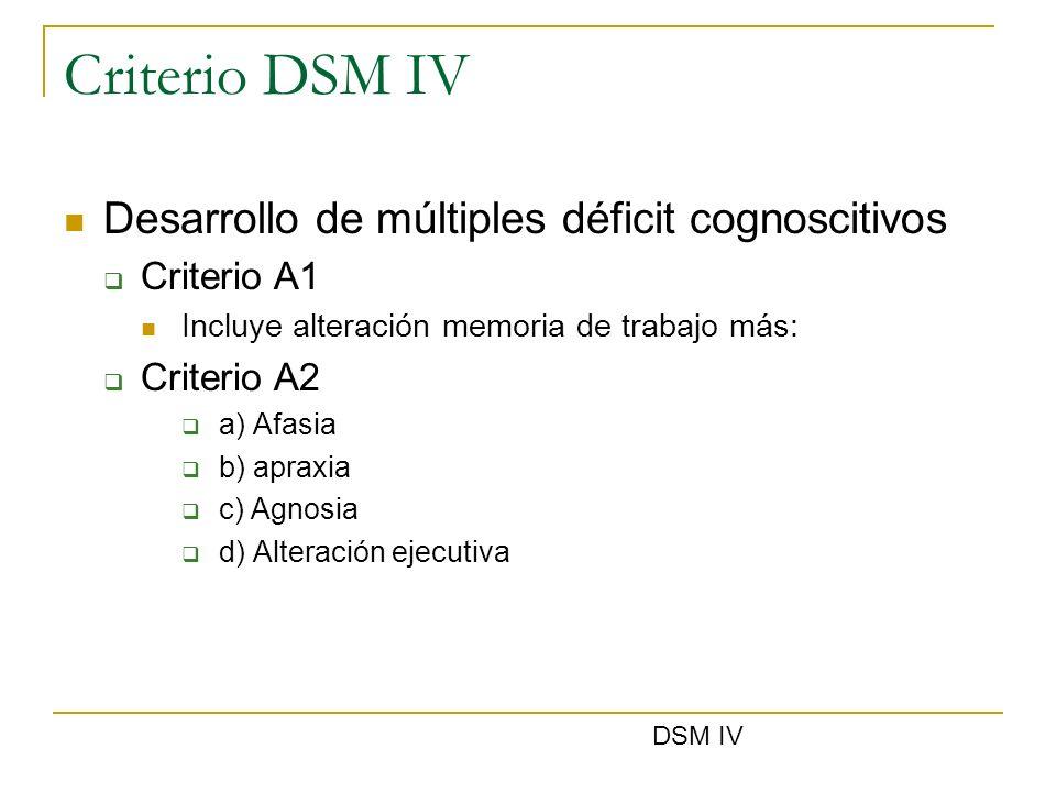 Criterio DSM IV Desarrollo de múltiples déficit cognoscitivos Criterio A1 Incluye alteración memoria de trabajo más: Criterio A2 a) Afasia b) apraxia