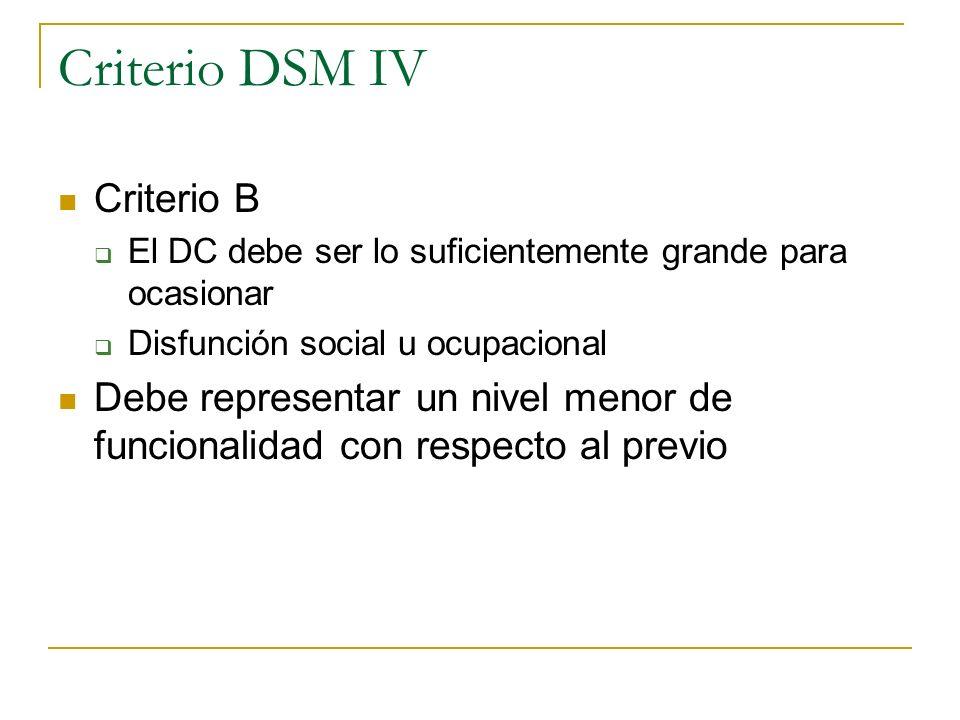 Criterio DSM IV Criterio B El DC debe ser lo suficientemente grande para ocasionar Disfunción social u ocupacional Debe representar un nivel menor de