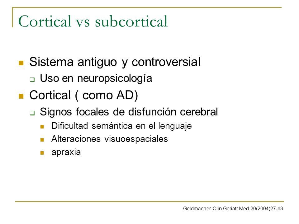 Cortical vs subcortical Sistema antiguo y controversial Uso en neuropsicología Cortical ( como AD) Signos focales de disfunción cerebral Dificultad se
