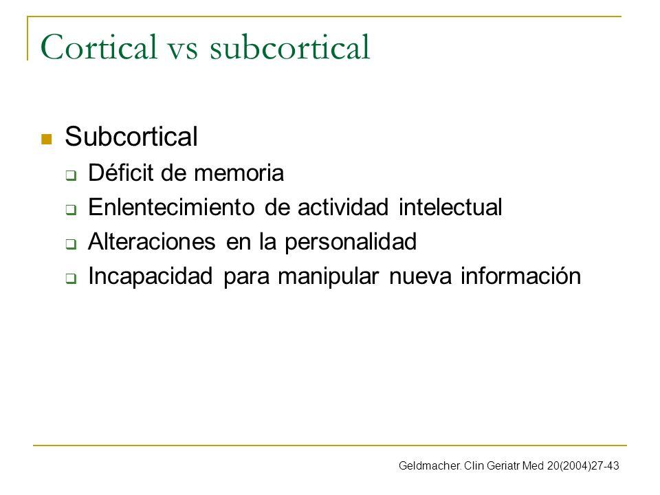 Cortical vs subcortical Subcortical Déficit de memoria Enlentecimiento de actividad intelectual Alteraciones en la personalidad Incapacidad para manip