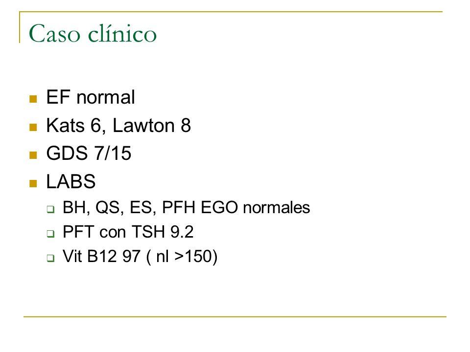 Caso clínico EF normal Kats 6, Lawton 8 GDS 7/15 LABS BH, QS, ES, PFH EGO normales PFT con TSH 9.2 Vit B12 97 ( nl >150)