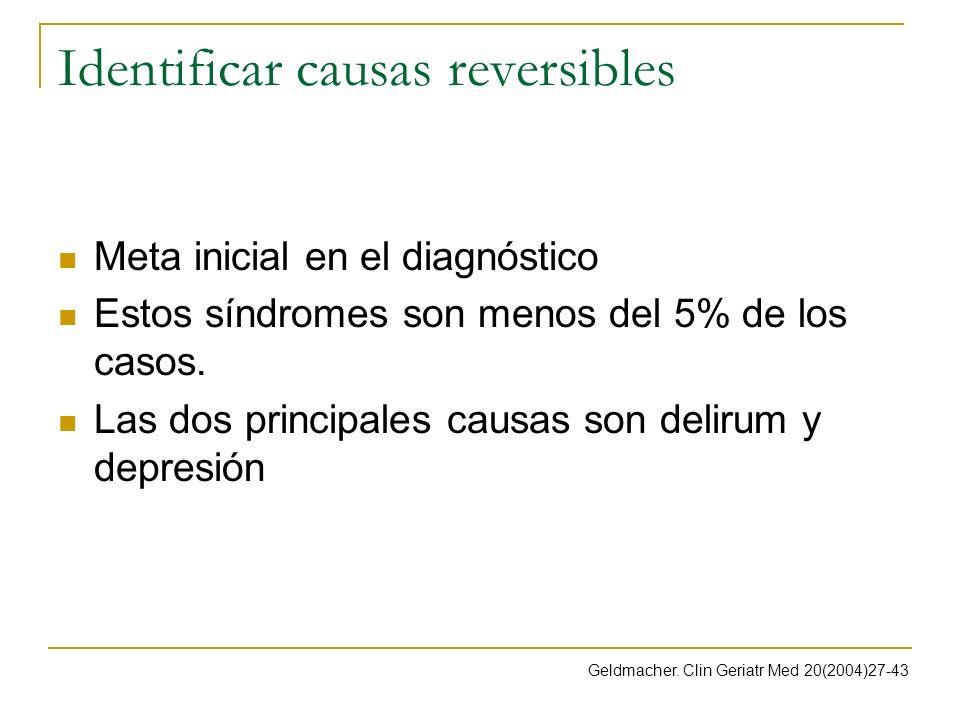 Identificar causas reversibles Meta inicial en el diagnóstico Estos síndromes son menos del 5% de los casos. Las dos principales causas son delirum y