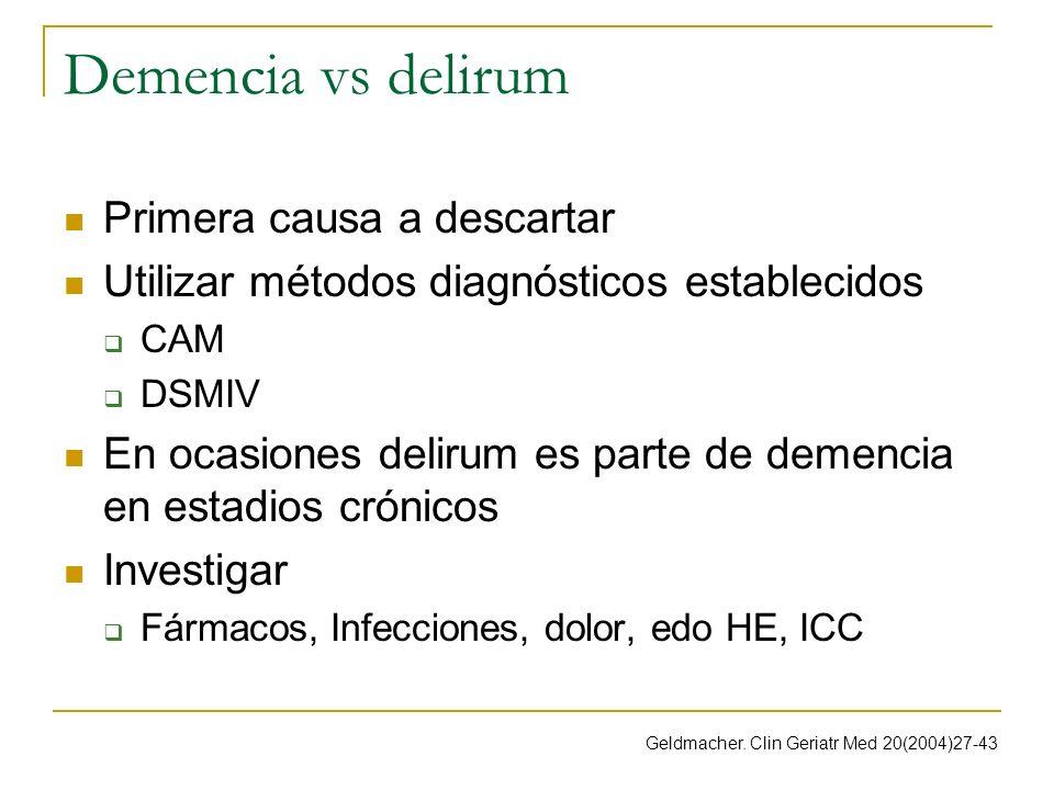 Demencia vs delirum Primera causa a descartar Utilizar métodos diagnósticos establecidos CAM DSMIV En ocasiones delirum es parte de demencia en estadi