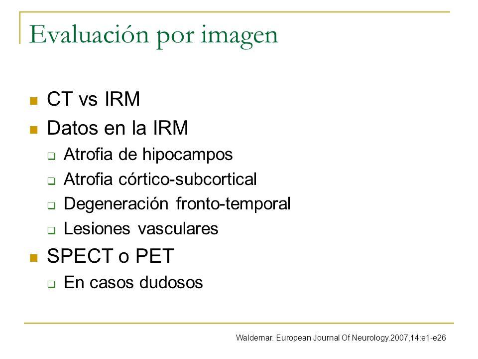 Evaluación por imagen CT vs IRM Datos en la IRM Atrofia de hipocampos Atrofia córtico-subcortical Degeneración fronto-temporal Lesiones vasculares SPE