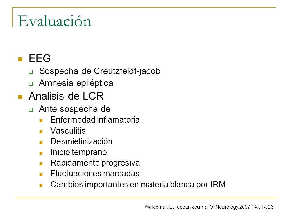 Evaluación EEG Sospecha de Creutzfeldt-jacob Amnesia epiléptica Analisis de LCR Ante sospecha de Enfermedad inflamatoria Vasculitis Desmielinización I