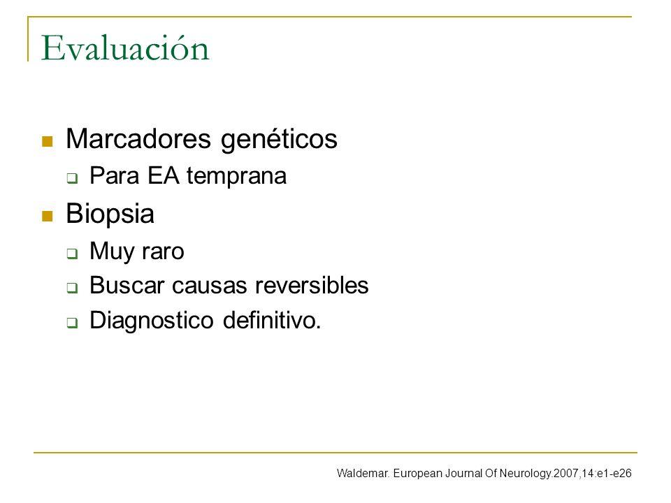 Evaluación Marcadores genéticos Para EA temprana Biopsia Muy raro Buscar causas reversibles Diagnostico definitivo. Waldemar. European Journal Of Neur
