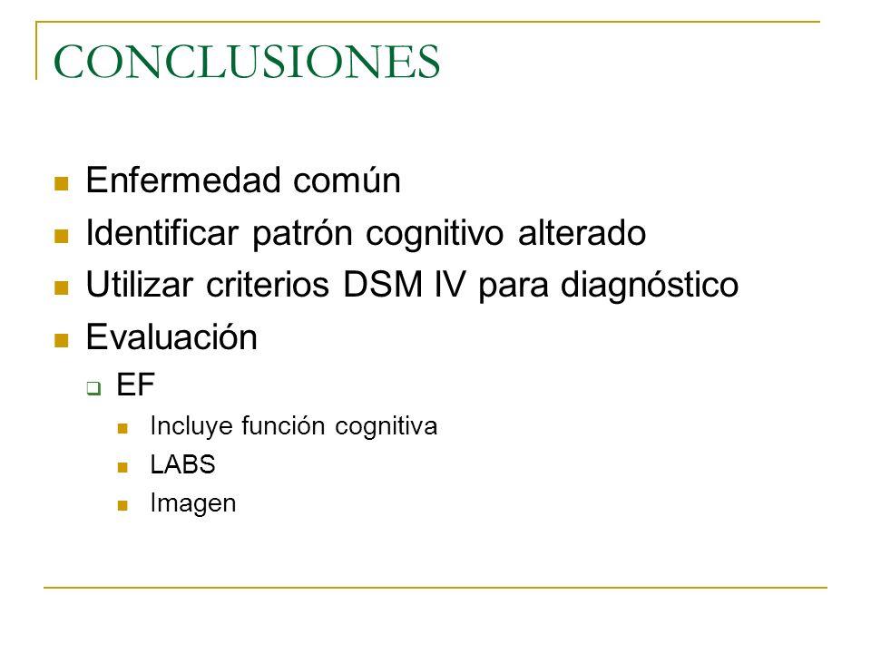 CONCLUSIONES Enfermedad común Identificar patrón cognitivo alterado Utilizar criterios DSM IV para diagnóstico Evaluación EF Incluye función cognitiva