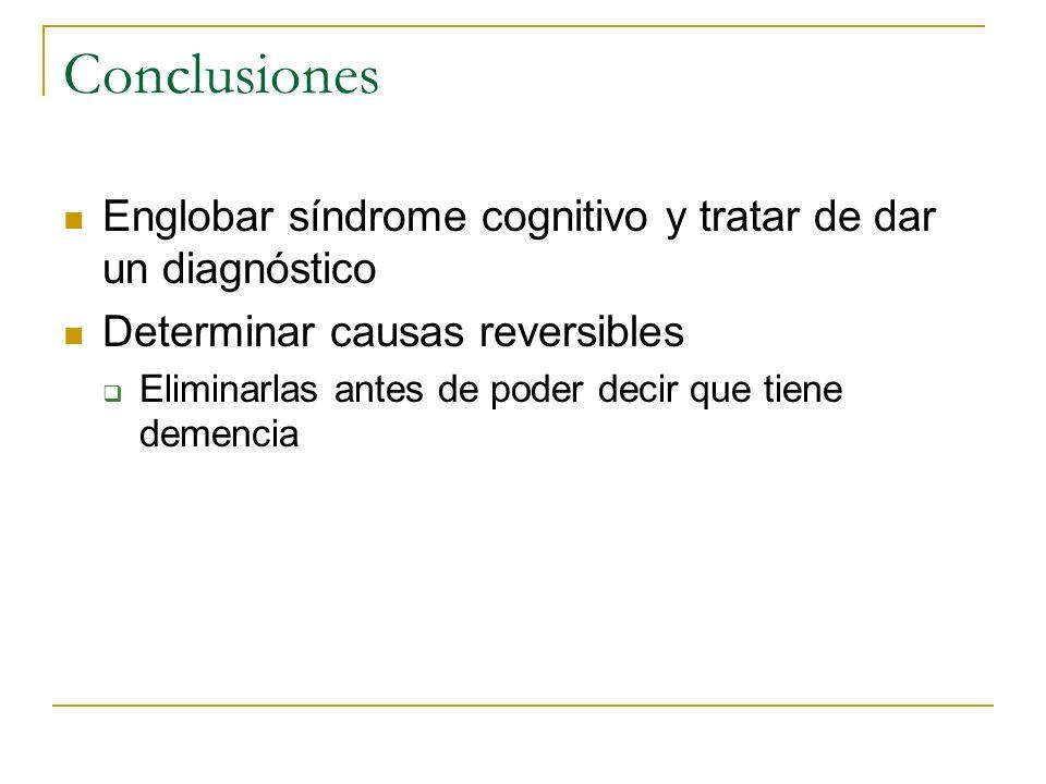Conclusiones Englobar síndrome cognitivo y tratar de dar un diagnóstico Determinar causas reversibles Eliminarlas antes de poder decir que tiene demen