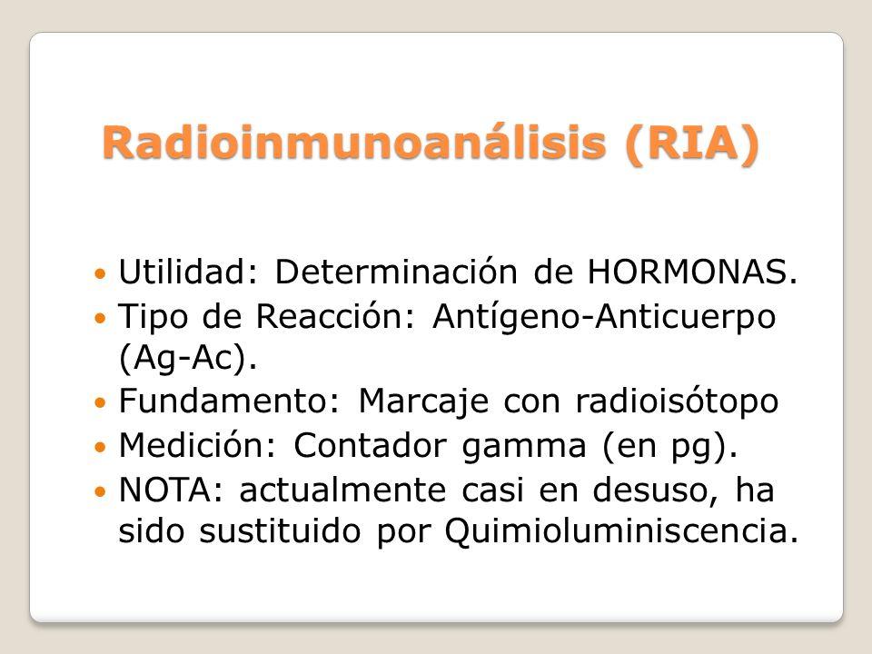 Radioinmunoanálisis (RIA) Utilidad: Determinación de HORMONAS. Tipo de Reacción: Antígeno-Anticuerpo (Ag-Ac). Fundamento: Marcaje con radioisótopo Med