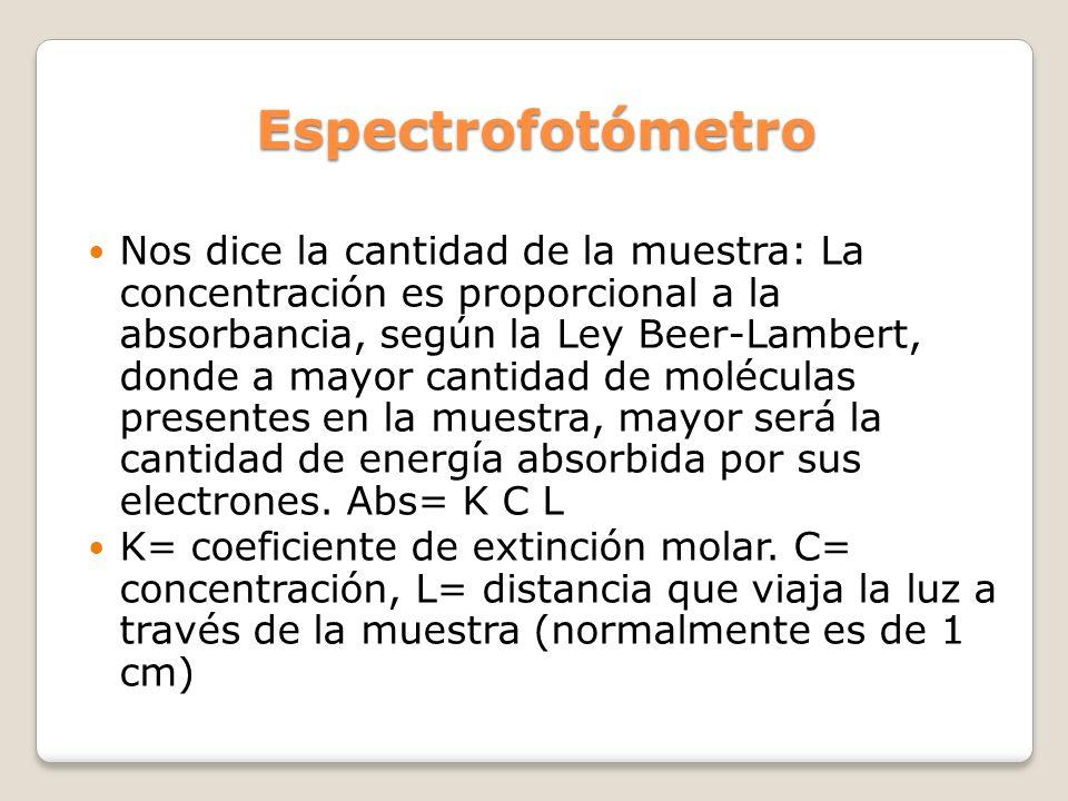 Espectrofotómetro Nos dice la cantidad de la muestra: La concentración es proporcional a la absorbancia, según la Ley Beer-Lambert, donde a mayor cant