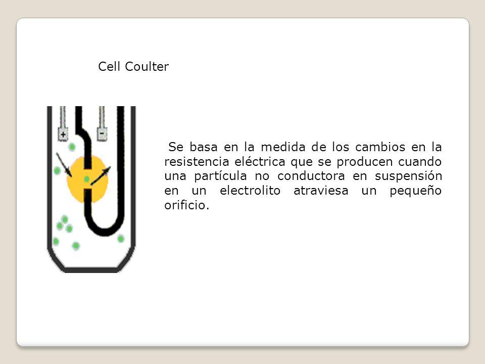 Cell Coulter Se basa en la medida de los cambios en la resistencia eléctrica que se producen cuando una partícula no conductora en suspensión en un el