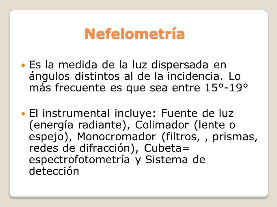 Nefelometría Es la medida de la luz dispersada en ángulos distintos al de la incidencia. Lo más frecuente es que sea entre 15°-19° El instrumental inc