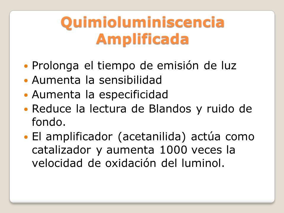 Quimioluminiscencia Amplificada Prolonga el tiempo de emisión de luz Aumenta la sensibilidad Aumenta la especificidad Reduce la lectura de Blandos y r