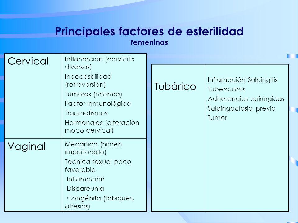 Principales factores de esterilidad femeninas Cervical Inflamación (cervicitis diversas) Inaccesbilidad (retroversión) Tumores (miomas) Factor inmunol