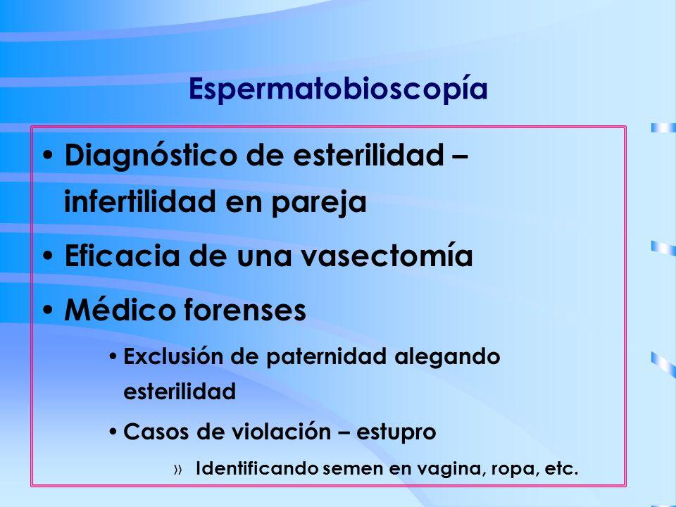 Espermatobioscopía Diagnóstico de esterilidad – infertilidad en pareja Eficacia de una vasectomía Médico forenses Exclusión de paternidad alegando est