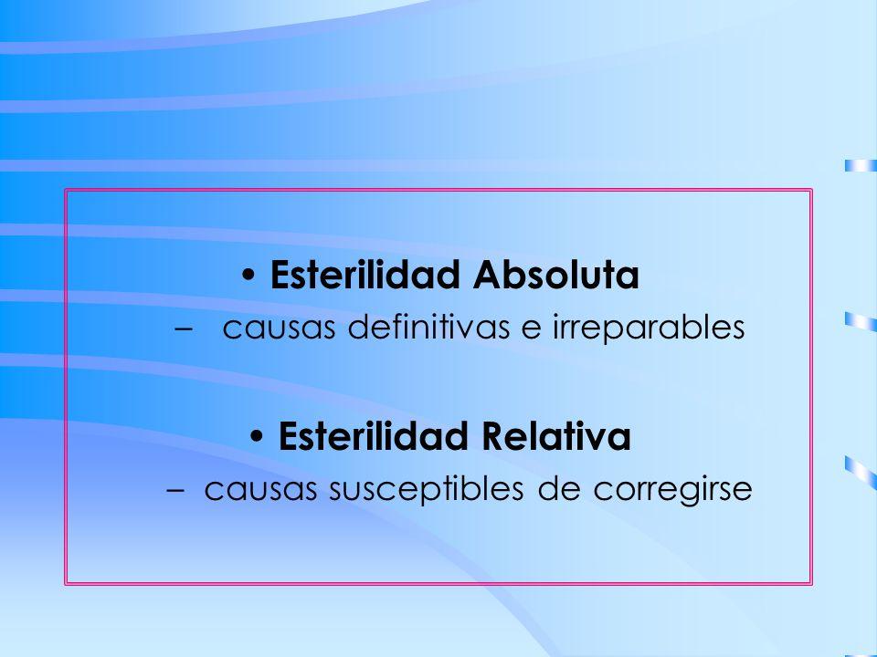 Esterilidad Absoluta – causas definitivas e irreparables Esterilidad Relativa – causas susceptibles de corregirse