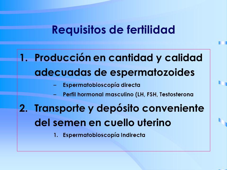 Requisitos de fertilidad 1.Producción en cantidad y calidad adecuadas de espermatozoides – Espermatobioscopía directa – Perfil hormonal masculino (LH,