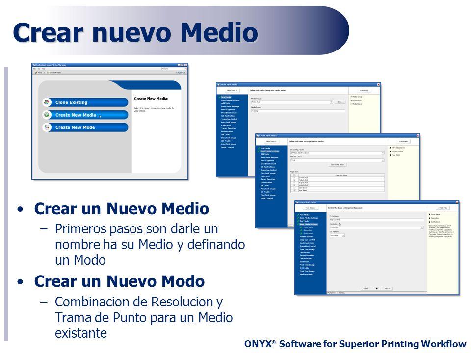 ONYX ® Software for Superior Printing Workflow Crear nuevo Medio Crear un Nuevo Medio –Primeros pasos son darle un nombre ha su Medio y definando un M