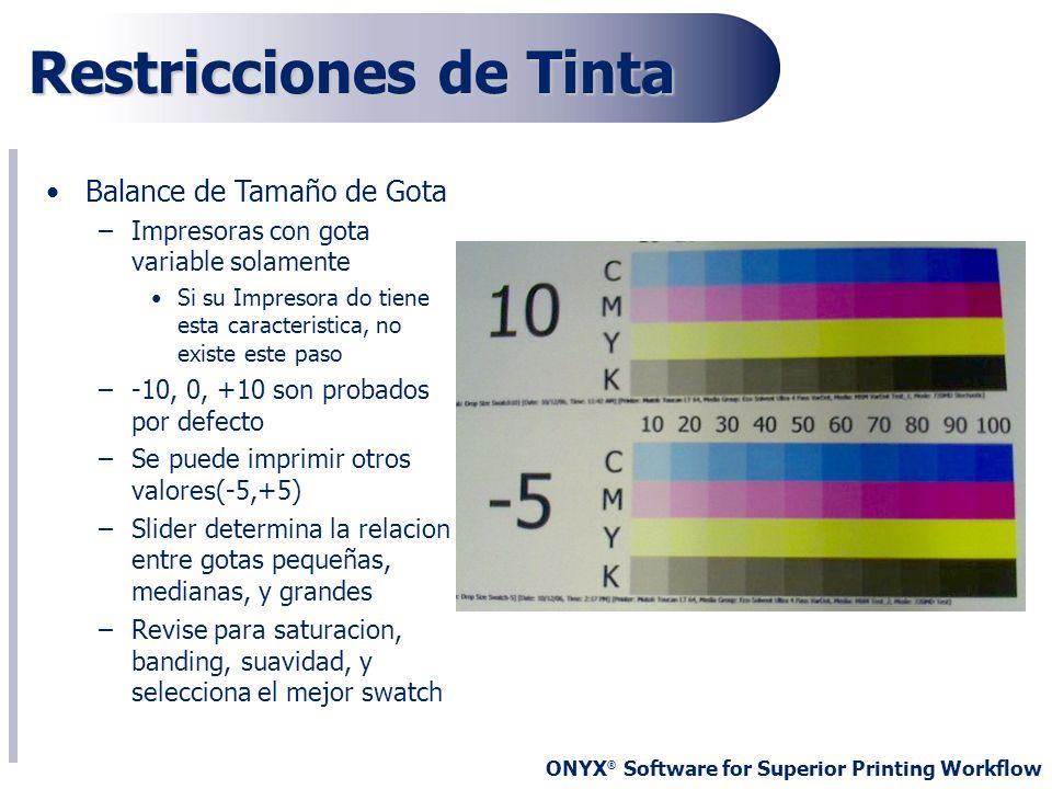 ONYX ® Software for Superior Printing Workflow Restricciones de Tinta Balance de Tamaño de Gota –Impresoras con gota variable solamente Si su Impresor