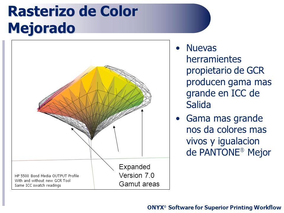 ONYX ® Software for Superior Printing Workflow Rasterizo de Color Mejorado Nuevas herramientes propietario de GCR producen gama mas grande en ICC de S