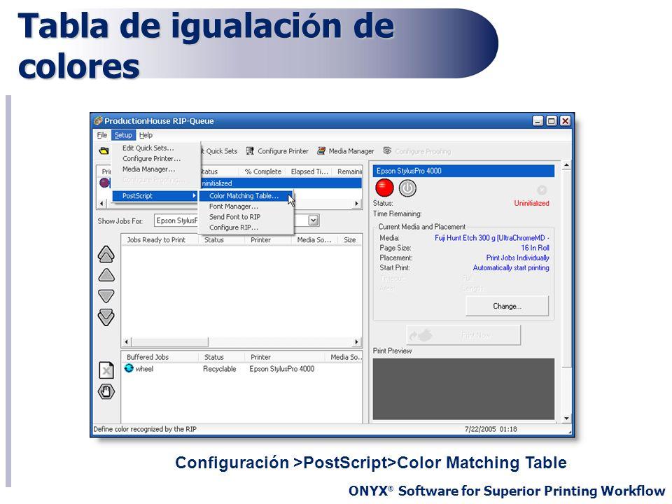 ONYX ® Software for Superior Printing Workflow Tabla de igualaci ó n de colores Configuración >PostScript>Color Matching Table