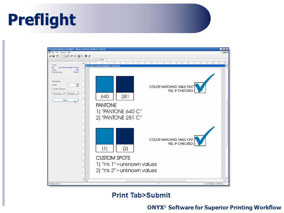 ONYX ® Software for Superior Printing Workflow Preflight Print Tab>Submit