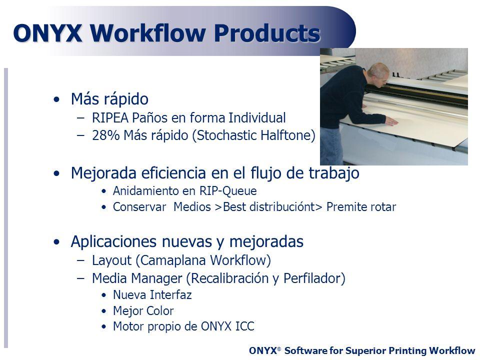 ONYX ® Software for Superior Printing Workflow ONYX Workflow Products Más rápido –RIPEA Paños en forma Individual –28% Más rápido (Stochastic Halftone