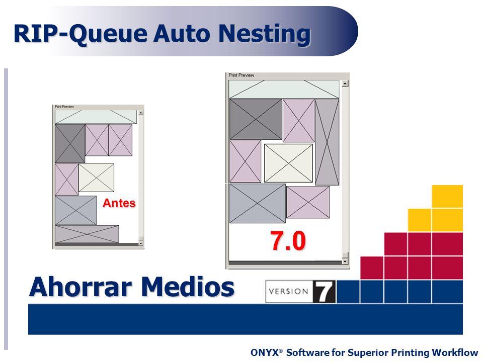 ONYX ® Software for Superior Printing Workflow RIP-Queue Auto Nesting Antes Antes 7.0 Ahorrar Medios