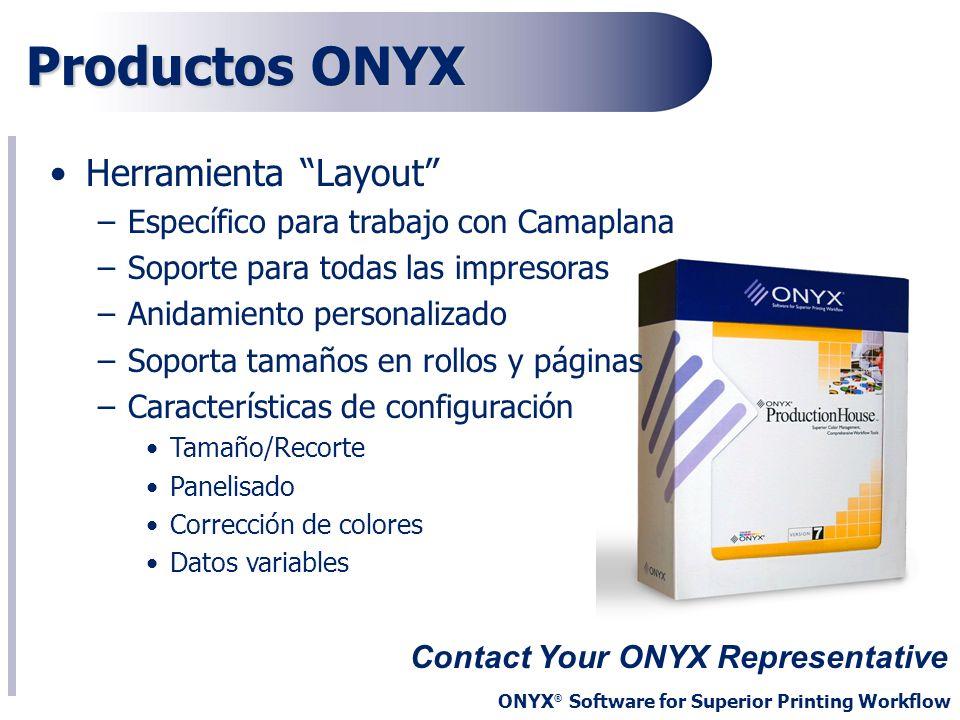 ONYX ® Software for Superior Printing Workflow Productos ONYX Contact Your ONYX Representative Herramienta Layout –Específico para trabajo con Camapla
