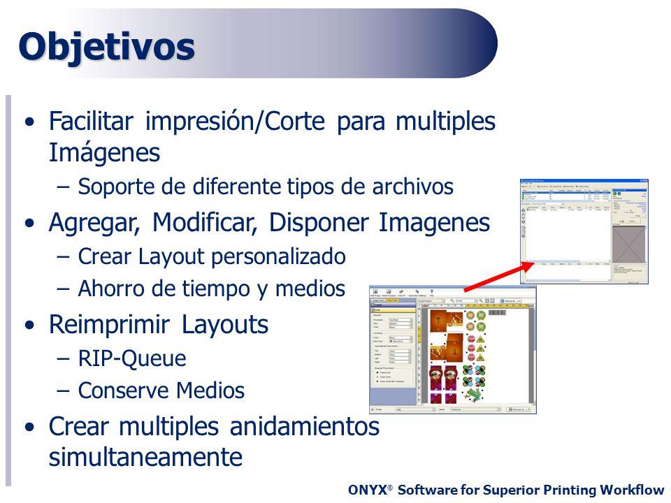 ONYX ® Software for Superior Printing Workflow Objetivos Facilitar impresión/Corte para multiples Imágenes –Soporte de diferente tipos de archivos Agr