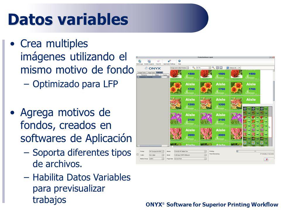 ONYX ® Software for Superior Printing Workflow Datos variables Crea multiples imágenes utilizando el mismo motivo de fondo –Optimizado para LFP Agrega