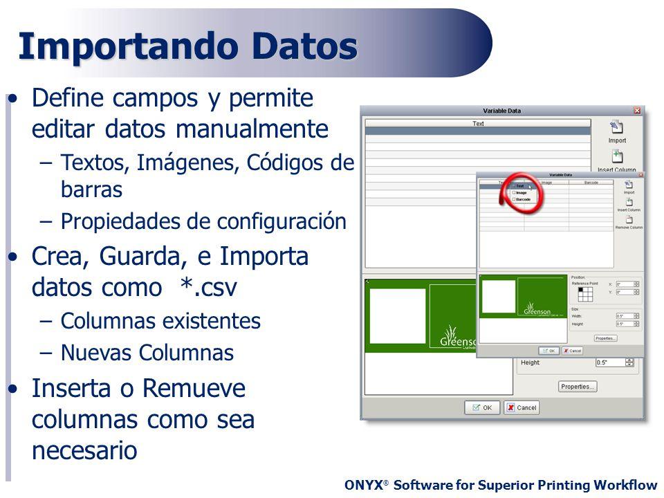 ONYX ® Software for Superior Printing Workflow Define campos y permite editar datos manualmente –Textos, Imágenes, Códigos de barras –Propiedades de c