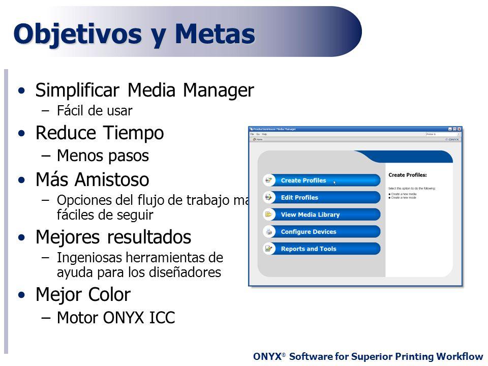 ONYX ® Software for Superior Printing Workflow Objetivos y Metas Simplificar Media Manager –Fácil de usar Reduce Tiempo –Menos pasos Más Amistoso –Opc