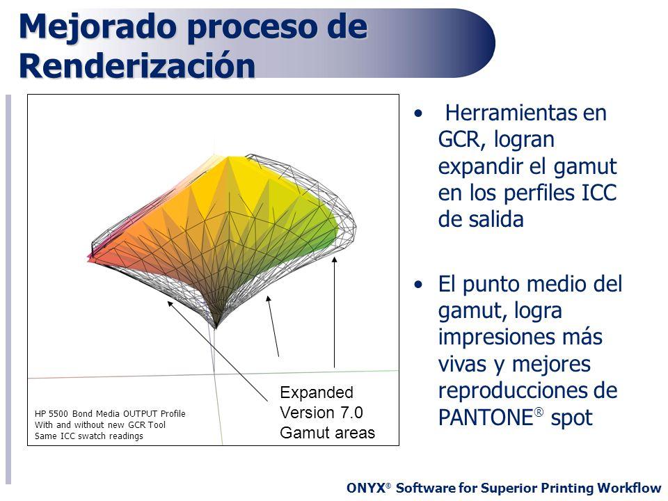ONYX ® Software for Superior Printing Workflow Mejorado proceso de Renderización Herramientas en GCR, logran expandir el gamut en los perfiles ICC de