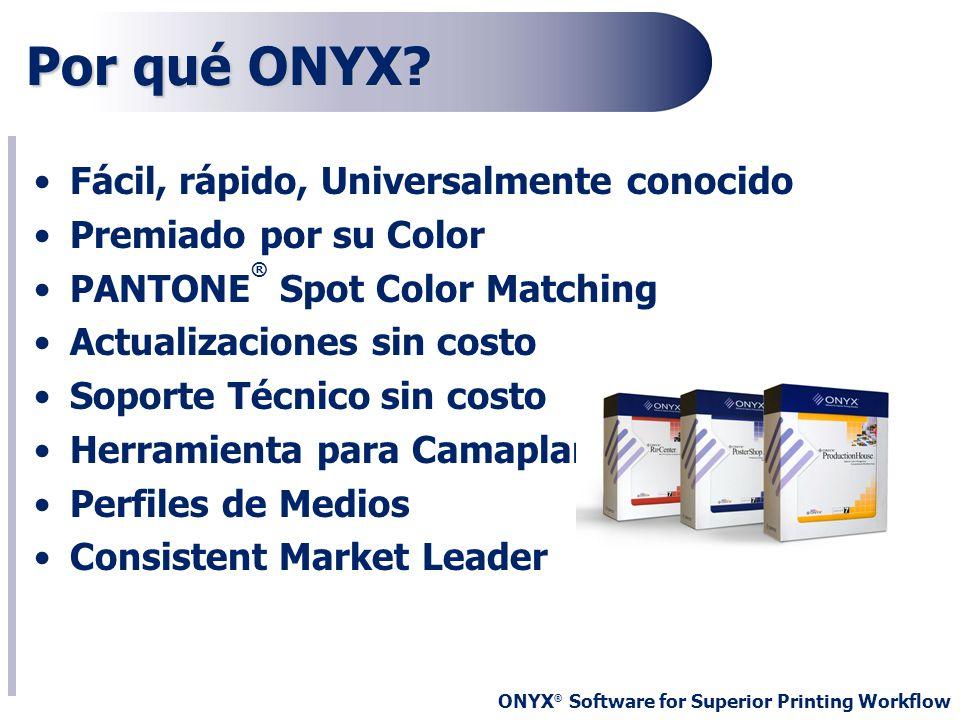 ONYX ® Software for Superior Printing Workflow Por qué ONYX? Fácil, rápido, Universalmente conocido Premiado por su Color PANTONE ® Spot Color Matchin
