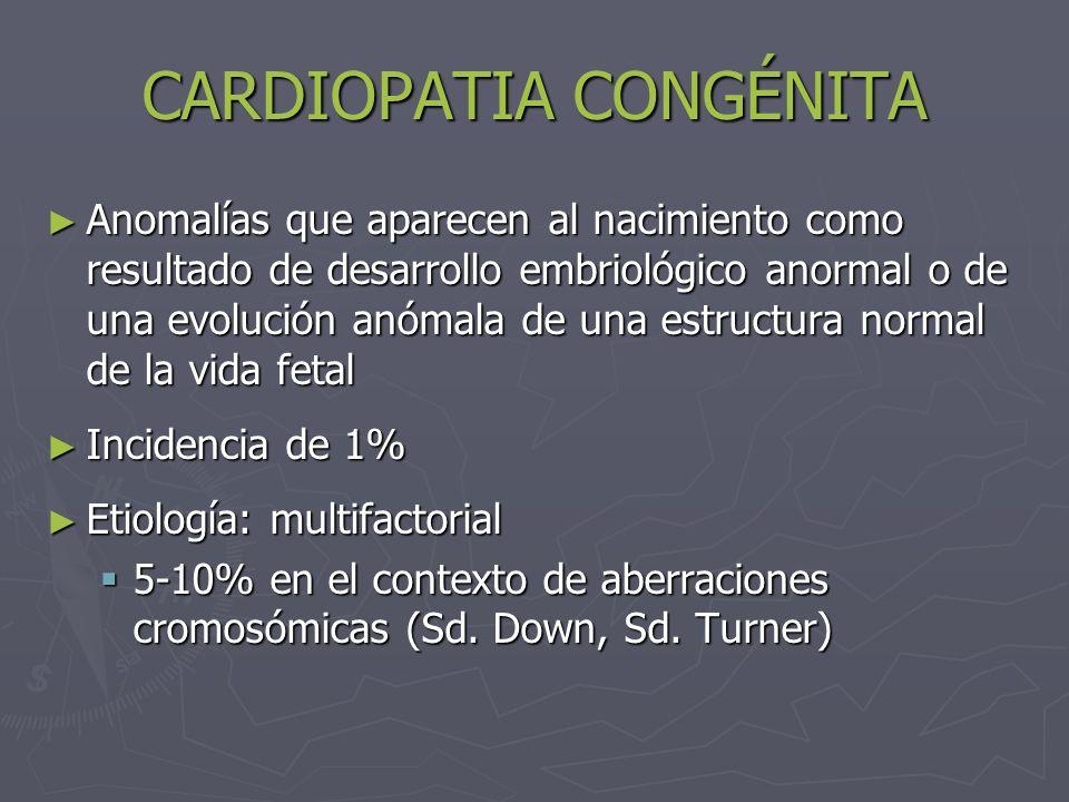 CARDIOPATIA CONGÉNITA Anomalías que aparecen al nacimiento como resultado de desarrollo embriológico anormal o de una evolución anómala de una estruct