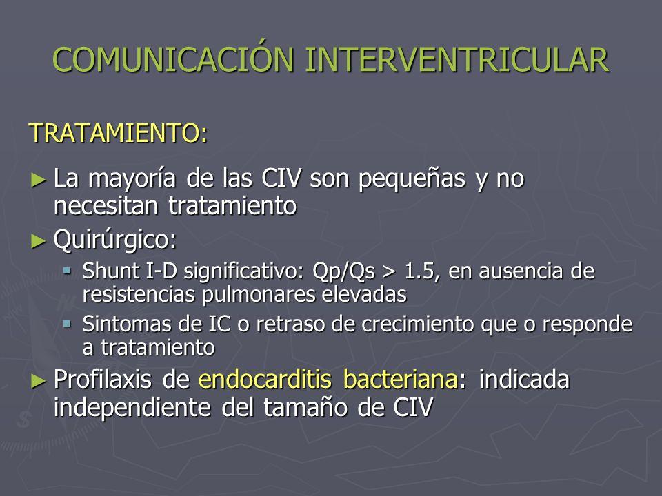 COMUNICACIÓN INTERVENTRICULAR TRATAMIENTO: La mayoría de las CIV son pequeñas y no necesitan tratamiento La mayoría de las CIV son pequeñas y no neces
