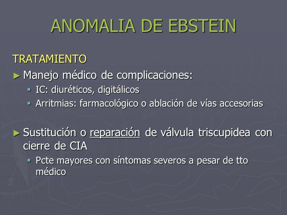 ANOMALIA DE EBSTEIN TRATAMIENTO Manejo médico de complicaciones: Manejo médico de complicaciones: IC: diuréticos, digitálicos IC: diuréticos, digitáli