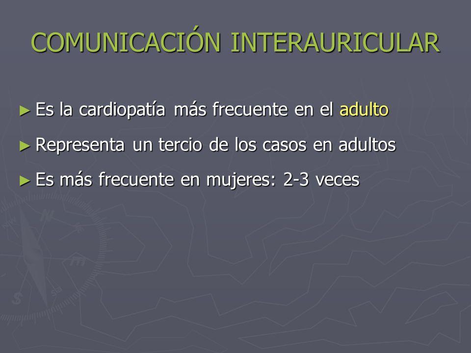 COMUNICACIÓN INTERAURICULAR Cortocircuito de Izq Der Sobrecarga de volumen en AD, VD, AI Hipertensión pulmonar por flujo Hipertensión pulmonar Sd.