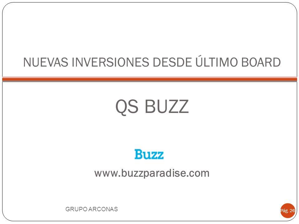 NUEVAS INVERSIONES DESDE ÚLTIMO BOARD QS BUZZ www.buzzparadise.com GRUPO ARCONAS Pág. 26