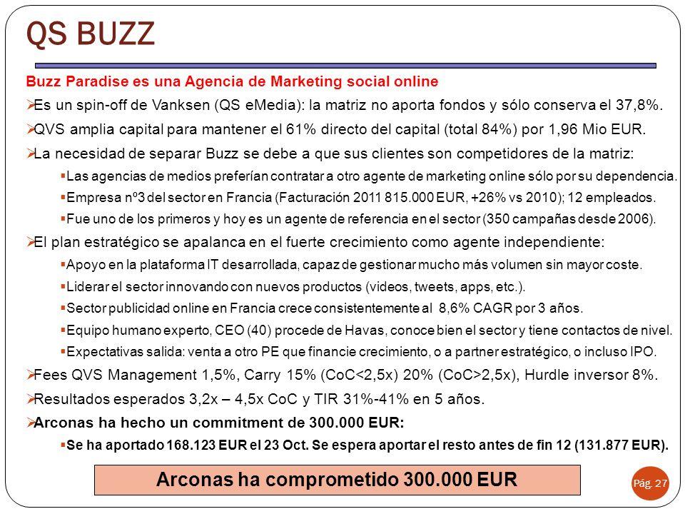QS BUZZ Pág. 27 Buzz Paradise es una Agencia de Marketing social online Es un spin-off de Vanksen (QS eMedia): la matriz no aporta fondos y sólo conse