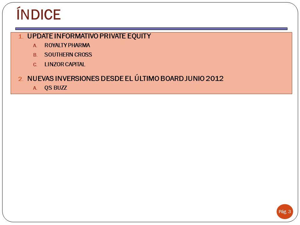 ÍNDICE Pág. 3 1. UPDATE INFORMATIVO PRIVATE EQUITY A. ROYALTY PHARMA B. SOUTHERN CROSS C. LINZOR CAPITAL 2. NUEVAS INVERSIONES DESDE EL ÚLTIMO BOARD J